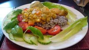 Buckwheat, channa dal and salad