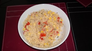 Wholemeal couscous with sweetcorn, tomato and lemon juice