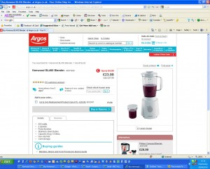 False advertising on the Argos website of the Kenwood BL450 Blender shown with mill