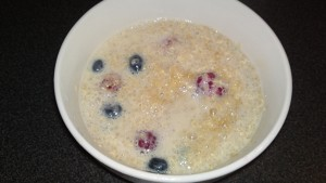 Quinoa, soy milk, blueberries, raspberries and Agave Nector