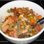 Orgainc wheat free pasta with vegetable fry-up