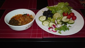 Baingan-ka-bharta, red and brown lentils with salad