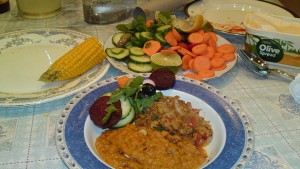 Corn-on-the-Cob, salad, red lentils and Bhaingan-ka-Bharta