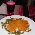 Red lentils, organic gluten-free pasta and vegetable juice