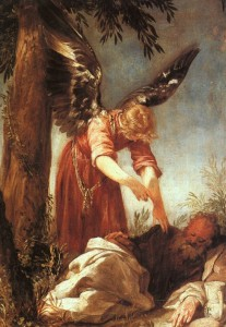An Angel Awakens the Prophet Elijah 1667 by Juan Antonio Escalante (before he starts his 40 day fast)