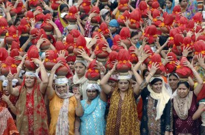 Sindhis at a religious procession in Ahmadabad India at the end of Chaliho Sahib - a 40 day fast of gratitude