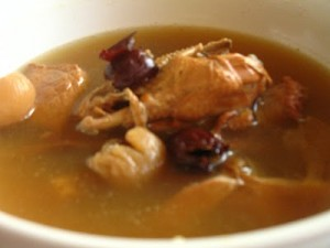 Chinese Confinement food: Dried longan, red dates herbal chicken soup