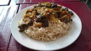 Wholegrain basmati rice with vegetable curry