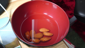 Almonds soaked in water