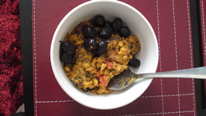 Chana dal with aubergine and olives