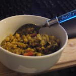 Chana dal with eggplant