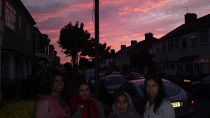 My sister, mum, nan and wife stood outside my aunt's house arriving for an Eid dinner