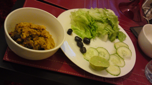 Red lentils, wholegrain basmati rice and salad