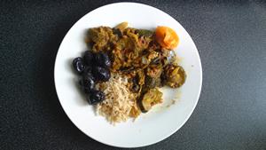 Vegetable curry, black olive, and wholegrain basmati rice