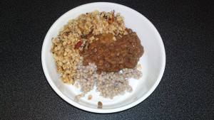 White dal, brown lentils and buckwheat